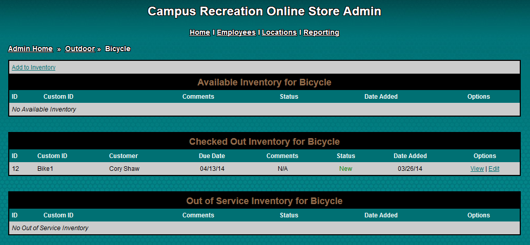 Administrative Inventory Page